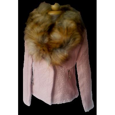Roze leder look jas