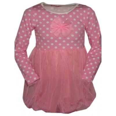 Roze polkadot tulle jurkje