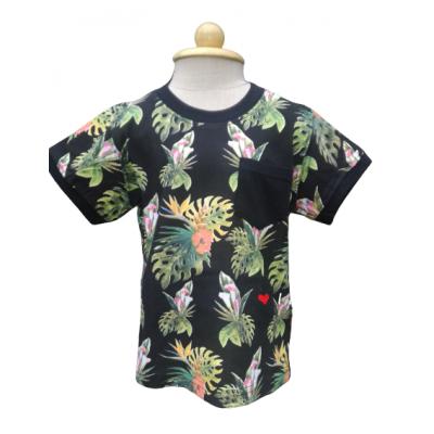 Zwart tropisch shirt