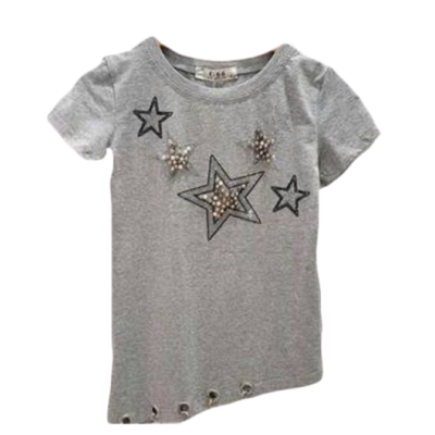 Trendy grijs shirt, lang model
