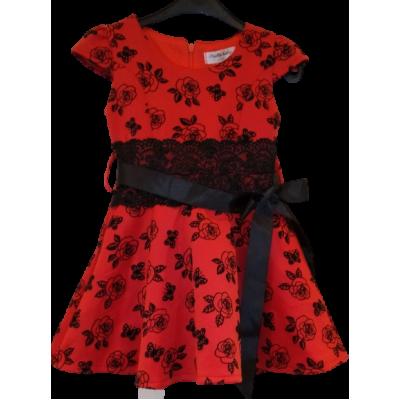 rood zwarte bloemen kerst jurk