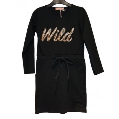 zwart jurkje met WILD panter print