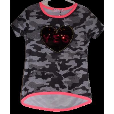 Zwart grijs army print meiden shirt