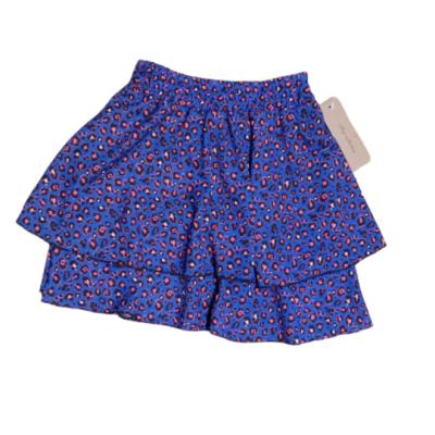 Blauwe panter print stroken rok, met roze dots