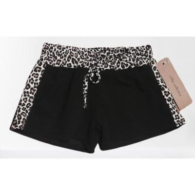 zwarte korte broek met panter print