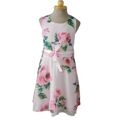 Roze glans bloemen jurk