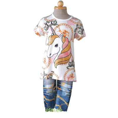 Eenhoorn set, shirt vol blingbling met legging