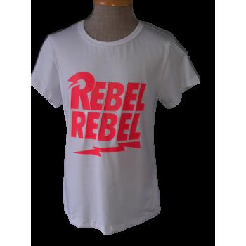 Wit shirt met Fluor roze REBEL