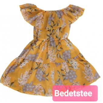 Gele off sholder chiffon bloemen jurk