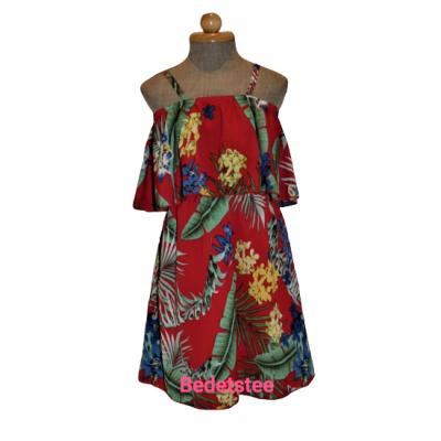 Rood bloemen off sholder jurk
