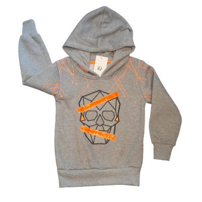 Gaaf skully sweater, met fluor oranje striping