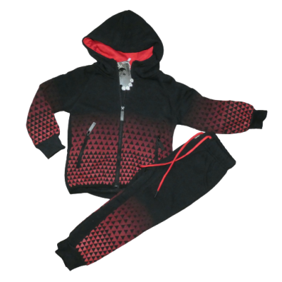 zwart rood blokjes joggingpak