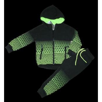 zwart groen blokjes joggingpak
