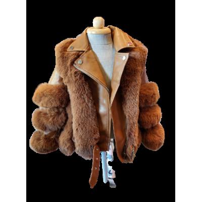 bruin lederlook kort jasje