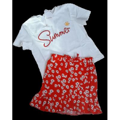 rood wit zomer set bloemen rok met shirt