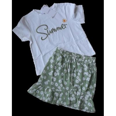 groen wit zomer set bloemen rok met shirt
