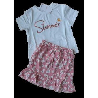 roze  wit zomer set bloemen rok met shirt