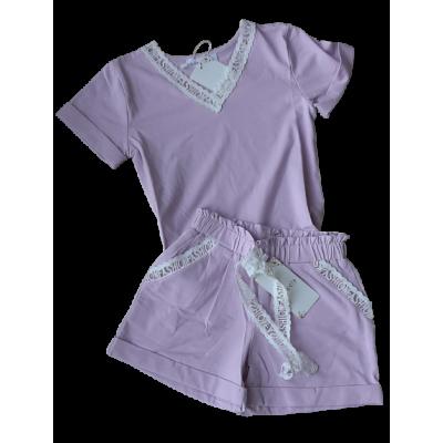 Lila zomer set  t shirt met broekje