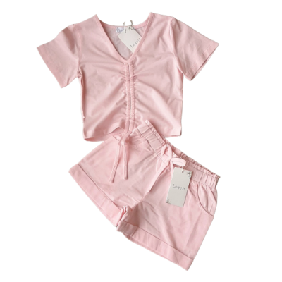 roze zomer set met rimpel shirtje