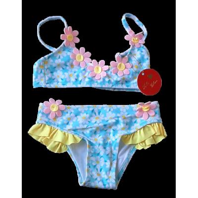 Blauw roze gele bloemetjes bikini