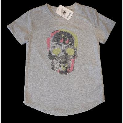 Grijs bling bling shirt met skully  doodshoofd