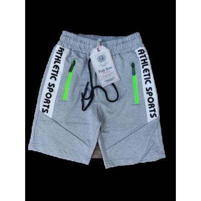 grijze korte broek met groene details