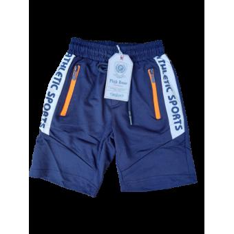 donker blauwe korte broek met oranje details