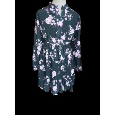 donker grijze met roze bloemen jurk