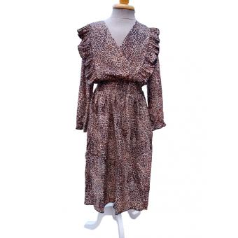 panter print lange jurk met roesels