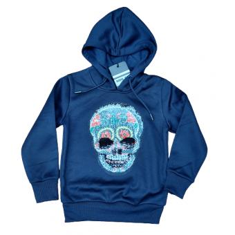 Donkerblauwe doodshoofd sweater
