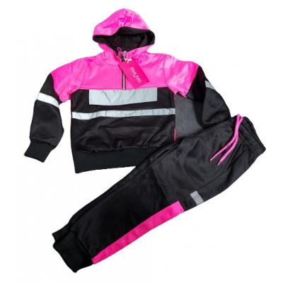 Zwart met knal roze meiden joggingpak