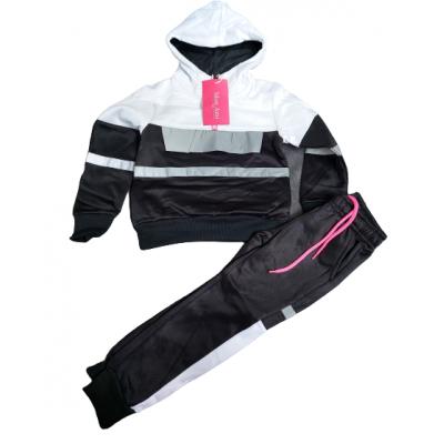 Zwart met wit meiden joggingpak