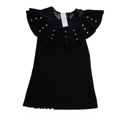 Prachtige zwarte jurk met kant en kraaltjes