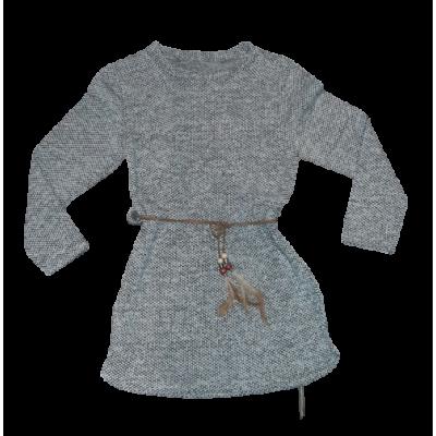 Mooi grijs tuniek jurkje met leren koortje en veertjes