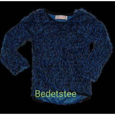 Blauw zwarte fluffy trui