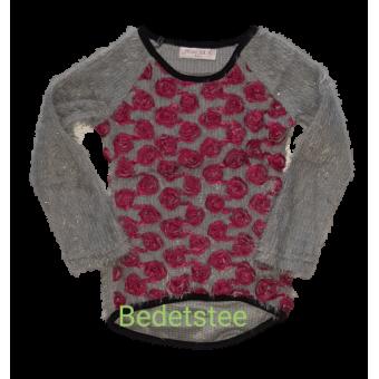 Grijze fluffy trui met roze roosjes