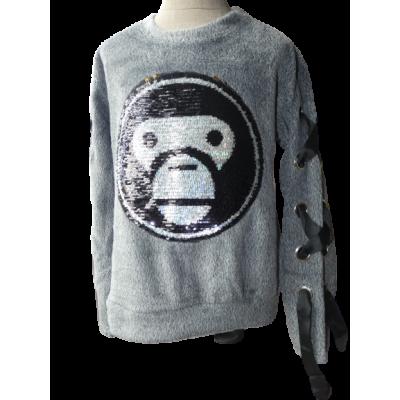 Super zachte grijze sweater, met linten
