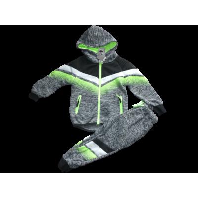 Stoer grijs met fluor groen joggingpak