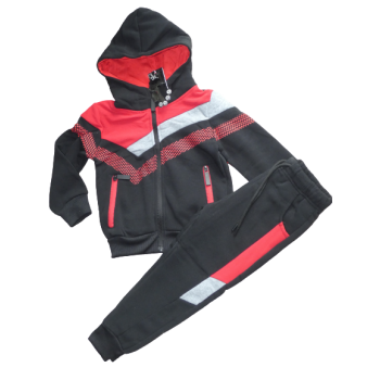 Stoer rood zwart joggingpak