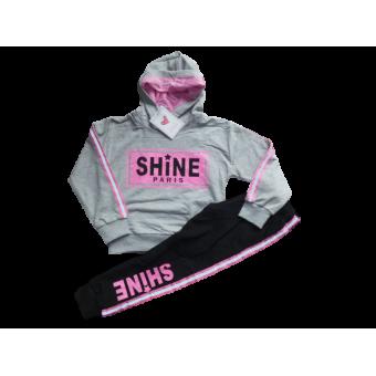 Super gaaf joggingpak, grijs roze zwart bling bling