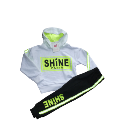 Gaaf wit zwart fluor groen trainingspak
