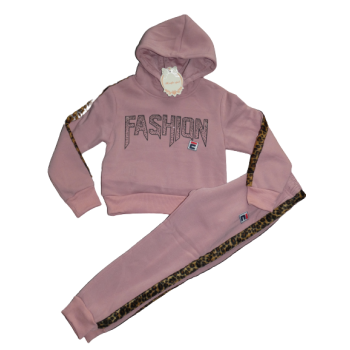 Stoer oud roze joggingpak, met bling bling en panterprint bies